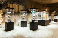 Wieliczka, Poland - glass-cases in exhibition chamber Royalty Free Stock Photo