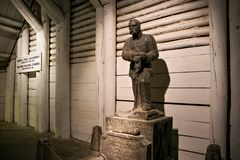 WIELICZKA, POLAND - MAY 28, 2016: Sculpture of the Jozef Pilsudski in the Wieliczka Salt Mine. Opened in the 13th century, the mine produced table salt. Is as stock image