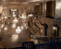 Wieliczka - Poland. Salt Mine Museum. St. Kinga chapel. Wieliczka - Poland - April 23. Tourists walk down to main Wieliczka Mine Salt Museum attraction - St Royalty Free Stock Photo