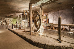 Wieliczka, Poland - Salt museum, chamber with lift wheel Royalty Free Stock Photography