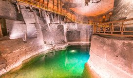 Wieliczka Salt Mine interior in Poland.  royalty free stock photography