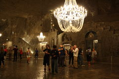 Wieliczka salt mine (Poland). Tourists in the Wieliczka (near Cracow / Krakow)  salt mine in Poland. A UNESCO Wrold Heritage site Royalty Free Stock Images