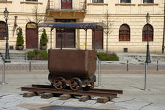 Wieliczka, Upper Square. The historic trolley to transport salt in a salt mine. Stock Photos