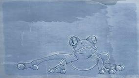 Wielka żaba, sztandar, z antyk bazą ilustracja wektor