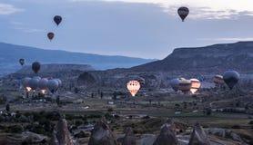 Wielka atrakcja turystyczna Cappadocia - balonowy lot na wschodzie słońca Cappadocia zna dookoła świata jako jeden Obraz Royalty Free
