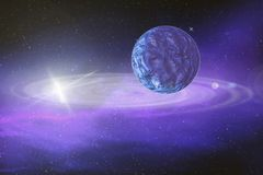 Wielka błękitna planeta rusza się wokoło jaskrawej gwiazdy w dalekiej przestrzeni, ilustracji