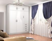 Wielka biała szafa blisko okno w pokoju zdjęcie stock