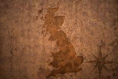 Wielka Britain mapa na rocznika papieru tle zdjęcie stock
