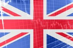 Wielka Brytania Union Jack flaga z giełdy papierów wartościowych mapy wykresem wskazuje Brexit ilustracji