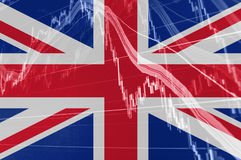 Wielka Brytania Union Jack flaga z giełdy papierów wartościowych mapy wykresem wskazuje Brexit royalty ilustracja