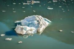 Wielka góra lodowa i inni mali kawałki lodowy unosić się fotografia stock