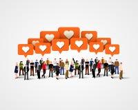 Wielka grupa ludzi jak z znakami pojęcie cyfrowo wytwarzał cześć wizerunku sieci res socjalny royalty ilustracja