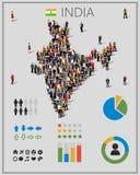 Wielka grupa ludzi w India mapie z infographics elementami Tło dla prezentaci ilustracja wektor