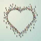 Wielka grupa ludzi w sercu ilustracja wektor