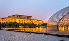 Wielka Hala ludzie i Krajowy Centre dla przedstawień w Pekin Zdjęcie Stock