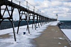 wielka jezior latarni morskiej zima Zdjęcie Royalty Free