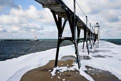 wielka jezior latarni morskiej zima Zdjęcia Royalty Free