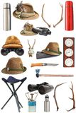 Kolekcja polowanie i plenerowy wyposażenie Zdjęcie Royalty Free