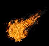 Wielka kula ognista z dymem na czerni Zdjęcia Royalty Free