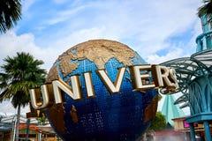 Wielka kula ziemska Unversal studia Singapur podczas słonecznego dnia zdjęcie stock