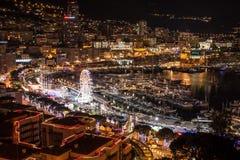 Wielka Monte, Carlo linia horyzontu w Francuskim Riviera przy nocą - Obraz Stock