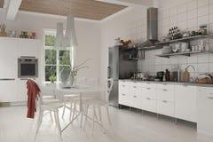 Wielka nieociosana kuchnia z stołem i krzesłami ilustracji