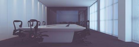 Wielka Nowożytna sala posiedzeń z stołem i krzesłami ilustracji