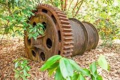 Wielka ośniedziała przekładnia Blaszana bagrownica w opustoszałej blaszanej kopalni Susi liście spadają na ziemi, tropikaln fotografia stock