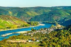 Wielka pętla Rhine przy Boppard w Niemcy zdjęcia stock