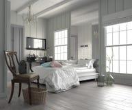 Wielka przestronna nowożytna biała sypialnia zdjęcie royalty free