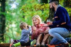 Wielka przyjemno?? Matka, ojciec miłość ich chłopiec dziecko Szczęśliwy syn z rodzicami relaksuje w jesień spadku lasowej pogodzi zdjęcia stock