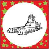 Wielka ręka rysująca sfinks szyldowa wektorowa ilustracja dalej Fotografia Stock