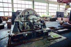 Wielka sala zaniechana Radziecka fabryka z wyposażeniem Obraz Royalty Free
