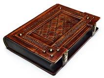 Wielka skóry granicy książka z Łacińskim teksta ` memento Mori ` grawerował kilka czasy jako rama - kłaść na stole, prawa strona zdjęcie royalty free