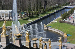 Wielka spada kaskadą fontanna w Peterhof Fotografia Stock