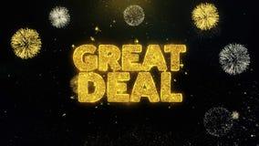 Wielka transakcja pisać złocistych cząsteczkach wybucha fajerwerku pokazu