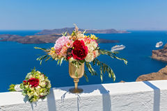 Wielka waza z kwiatami i bukietem Zdjęcia Stock