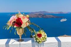 Wielka waza z kwiatami i bukietem Zdjęcie Royalty Free