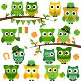 Wielka Wektorowa kolekcja St Patrick dnia O temacie sowy ilustracji