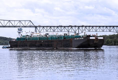 Wielka wysyłki łódź na hudsonie Zdjęcia Royalty Free