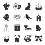 Wielkanoc, święte czarne proste ikony ustawiać dla sieci Obraz Royalty Free