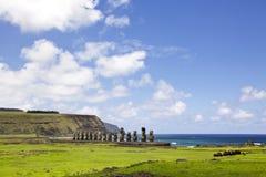 Wielkanoc ahu wyspy moai tongariki Zdjęcia Royalty Free