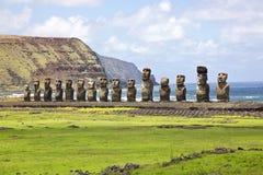 Wielkanoc ahu wyspy moai tongariki Zdjęcia Stock