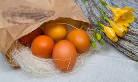 Wielkanoc barwił jajka w papierowej torbie z kwiatem frezja Zdjęcie Royalty Free