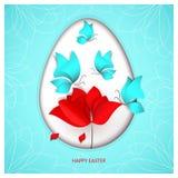Wielkanoc ciący stylowy jajko na nadziemskim błękitnym koloru tle z błękitnymi motylami, kwiatu tulipan, maczek lub wzrastał ilustracji