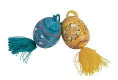 Wielkanoc dwa koloru drewna jajka Zdjęcia Stock