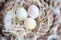 Wielkanoc, jajka, kurczaków jajka, przepiórek jajka, jajka, arkana, gniazdeczko, biel, piórka, w sianie Obraz Stock