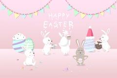 Wielkanoc, kartka z pozdrowieniami wakacje, króliki dekoruje pokój dla świętuje przyjęcia z ozdobną jajko fantazją, śliczny króli ilustracji