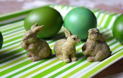 Wielkanoc królików i jajek zielony wystrój Obrazy Stock