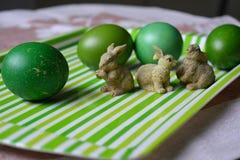 Wielkanoc królików i jajek zielony wystrój Zdjęcie Stock